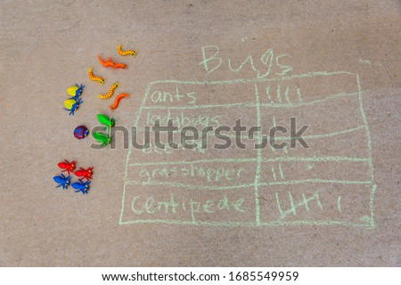 Math tally graph about bugs made with sidewalk chalk