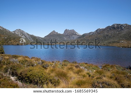Breathtaking views of Dove Lake and Cradle Mountain in Cradle Mountain Lake St Clair National Park, Australia (Natural Colour Version) #1685569345