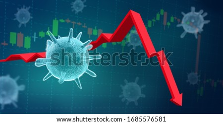 Coronavirus COVID-10 virus impact on financial crisis recession of world economy. Stock market crash in 3d illustration, 3d rendering.  #1685576581