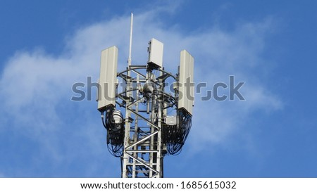 Image of 5G Massive MIMO mast for O2-UK in Cardiff, Wales Royalty-Free Stock Photo #1685615032