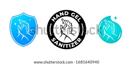 Hand gel sanitizer vector label with water drop, shield and hand logo.  Hand sanitizer icon for healthy safe product package tag #1685640940