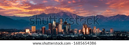 Los Angeles skyline sunset panorama