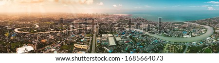 Colombo Skyline, the capital city of Sri Lanka. Four images merged to create this beautiful Colombo skyline panorama photo. On this photo you will see Kelani River, E03 Express way and beautiful city