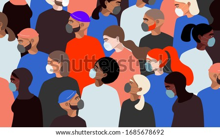 Coronavirus in Italy. Different people wearing medical face mask. Worldwide quarantine concept. Colourful female character. Hand drawn vector men an women standing. Trendy web and app illustration.  #1685678692