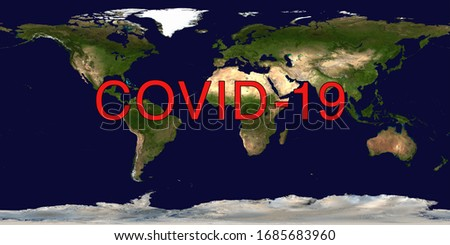 Coronavirus pandemic on world map. COVID-19 infection concept. Elements of this image furnished by NASA. #1685683960