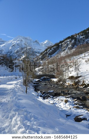 the snow-covered Pyrenees massif in the middle of winter