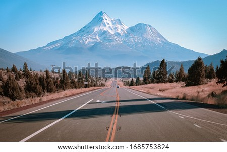 Mt. Shasta overlook on highway: the most beautiful mountain in Northern California
