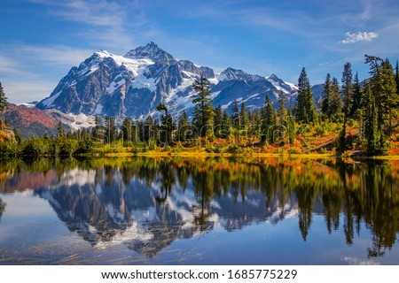 Mountain lake, Mt. Shuksan, Washington st, Northern cascades Royalty-Free Stock Photo #1685775229