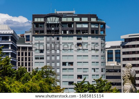 Wellington, New Zealand - 28 December 2019: The Bolton Hotel, seen from Bolton Street Memorial Park #1685815114
