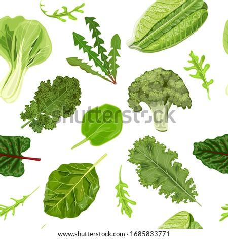 Dark green leafy vegetables seamless vector pattern isolated. fresh juicy raw leaves. Spinach, Dandelion, broccoli, Romaine Lettuce, kale, Collard. Healthy diet, vegetarian food salads, textile print #1685833771
