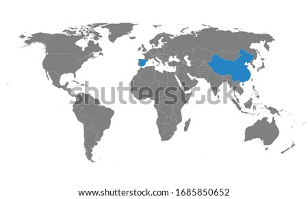 Spain, china countries highlighted on world map. Business concepts, political, health, trade and tourism. #1685850652