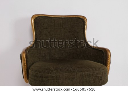 green bar stool with soft upholstery and gold legs on a white background #1685857618