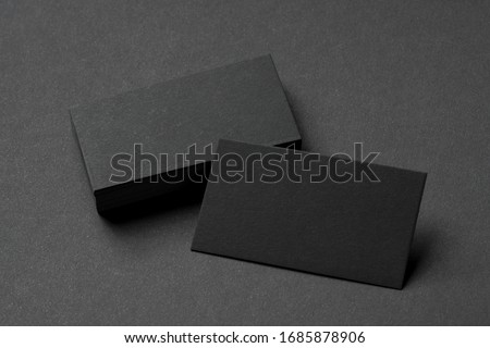 black business cards, blank corporate identity mockup