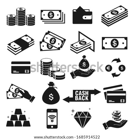 Money and payment icons set, isolated on white background, vector Illustration  Royalty-Free Stock Photo #1685914522