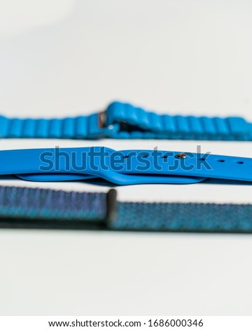 Los Angeles, California / USA - April 6 2019: Styled minimalistic photo of blue Apple Watch bands #1686000346