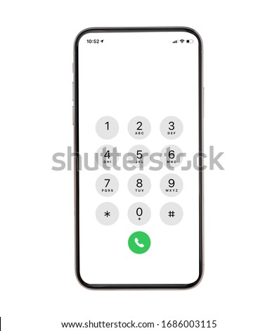 Display Keypad with numberst for mobile phone.Keypad for template in touchscreen device. mockup phone Isolated on white background #1686003115