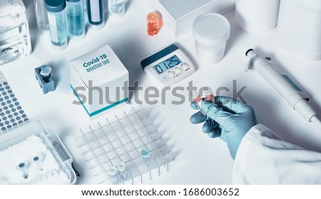 Novel coronavirus 2019 nCoV RT-PCR diagnostics kit. Reagents, primers and control samples to detect presence of 2019-nCoV or covid19 virus. In vitro diagnostic test based on real-time PCR technology. #1686003652
