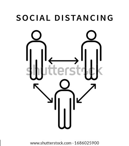 Social distancing icon. Keep the 1-2 meter distance. Coronovirus epidemic protective. Vector illustration Royalty-Free Stock Photo #1686025900