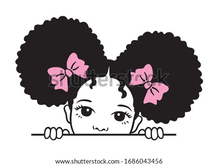 Cute peekaboo black girl with afro puff hair vector illustration. Royalty-Free Stock Photo #1686043456