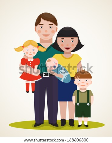 Happy Family Parents with Three Children. Father, mother, son, daughter and an infant . Raster variant.