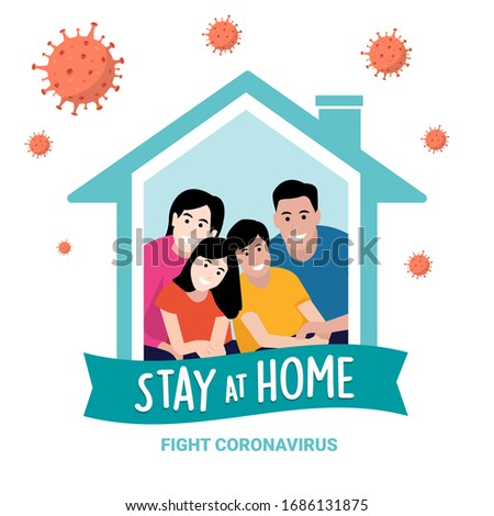 "Stay at home awareness social media campaign on coronavirus (COVID-19) prevention.   ""Stay home and stay life"" text.  Lifestyle activity that you can do at home to stay healthy concept to fight Coronavirus, Flat design #1686131875"