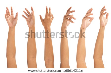 Collage of woman holding on white backgrounds Royalty-Free Stock Photo #1686143116
