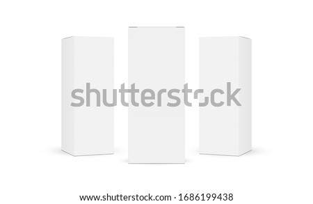 Three cardboard rectangular packaging boxes mockups isolated on white background. Vector illustration Royalty-Free Stock Photo #1686199438