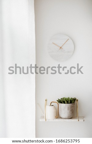Clock on the room wall with white curtains, Flower bed on the shelf  #1686253795