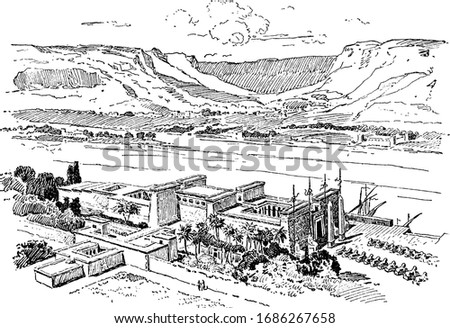 Egyptian Temple or Karnak Temples, history, vintage engraving. #1686267658
