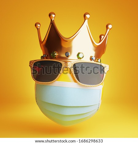 Sad emoji with a medical mask, sunglass and a royal crown. Isolated, clipping path included. 3d illustration