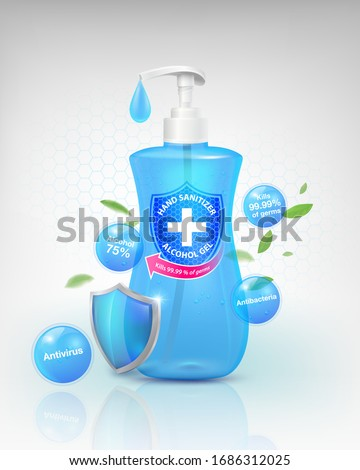 Hand sanitizer gel products 75% alcohol component, kills up to 99.99% of viruses covid-19, bacteria and germs. packed in a clear plastic top-press bottle. Realistic file. #1686312025