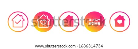 Social media set in support of self-isolation and staying at home. Distancing measures to prevent virus spread. Covid19 signs. Stay home. Isolated icon set on white background perfect for posts, news. #1686314734