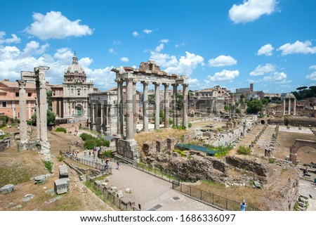 View of the Roman Forum from the Capitoline Hill, Rome, showing the ruins of the Temple of Saturn in the centre of the picture.