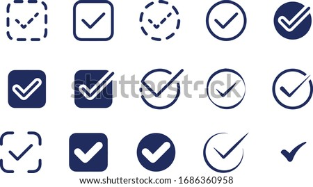 Confirm or Tick Icons Set vector design