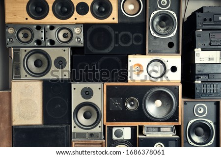 Music sound speakers hanging on the wall in retro vintage style, stacked sound boxes modern vintage #1686378061