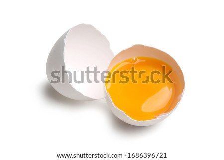 Egg Cut Open - Isolated on White Background Royalty-Free Stock Photo #1686396721