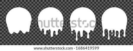 White paint drip stickers, set circle white melt drop icons, circle melt drops, graffiti paint drip blobs - stock vector #1686419599