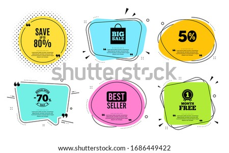 Save up to 80%. Best seller, quote text. Discount Sale offer price sign. Special offer symbol. Quotation bubble. Banner badge, texting quote boxes. Discount text. Coupon offer. #1686449422