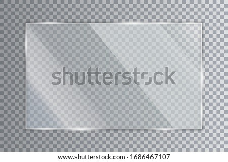 Glass plate on transparent background, clear glass showcase, realistic window mockup, acrylic and glass texture with glares and light, realistic transparent glass window in rectangle frame – for stock #1686467107