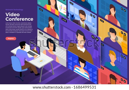 Illustrations flat design concept video conference. online meeting work form home. Vector illustrate. #1686499531