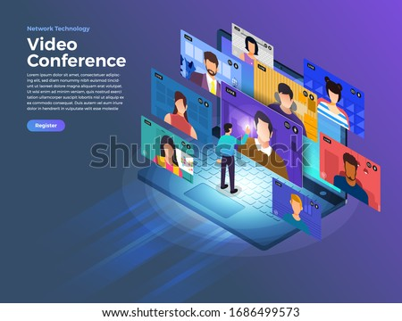 Illustrations flat design concept video conference. online meeting work form home. Vector illustrate. #1686499573