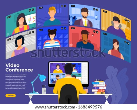 Illustrations flat design concept video conference. online meeting work form home. Vector illustrate. #1686499576