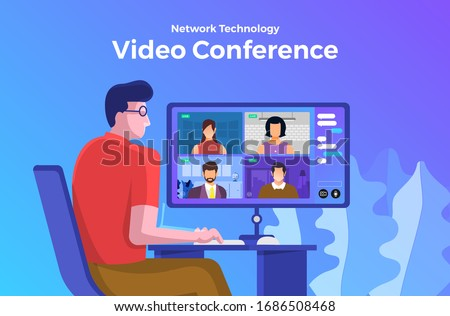 Illustrations flat design concept video conference. online meeting work form home. Vector illustrate. #1686508468