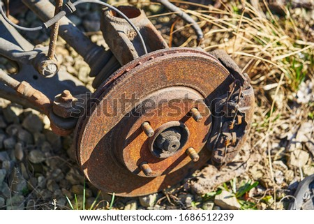 wheel hub on disassembled car. Royalty-Free Stock Photo #1686512239