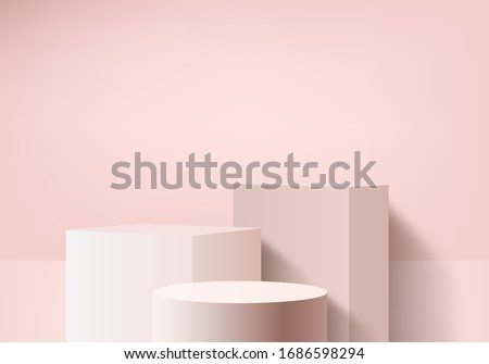 Background valentine vector 3d pink rendering with podium and minimal pink wall scene, minimal abstract background 3d rendering abstract valentine shape pink heart. Stage valentine for product lover  #1686598294