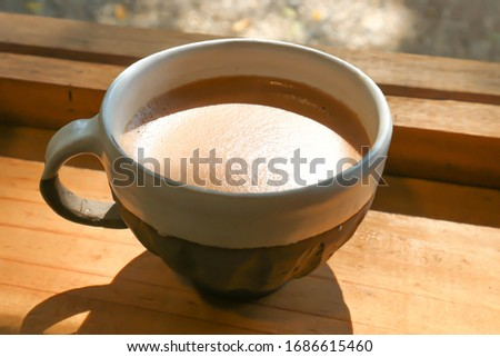 hot coffee or hot cappuccino, cocoa