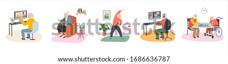 Elderly, old people, senior people at home, playing chess, chatting on computer with grandchildren, reading books, working out, learning languages. Vector illustration, cartoon set #1686636787
