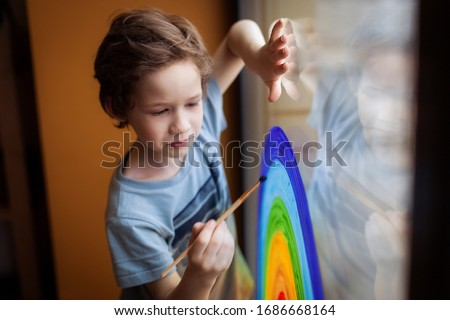 let's all be well. child at home draws a rainbow on the window. Flash mob society community on self-isolation quarantine pandemic coronavirus. Children create artist paints creativity vacation #1686668164