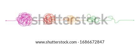 Complex to simple. Messy clew connected lines, brain imagination, scribbled tangle round elements, way streamlining process, vector solving problem concept Royalty-Free Stock Photo #1686672847
