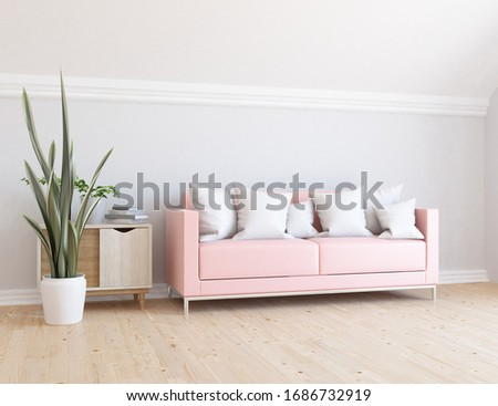 White minimalist living room interior with sofa, dresser on a wooden floor, decor on a large wall, white landscape in window. Home nordic interior. 3D illustration #1686732919